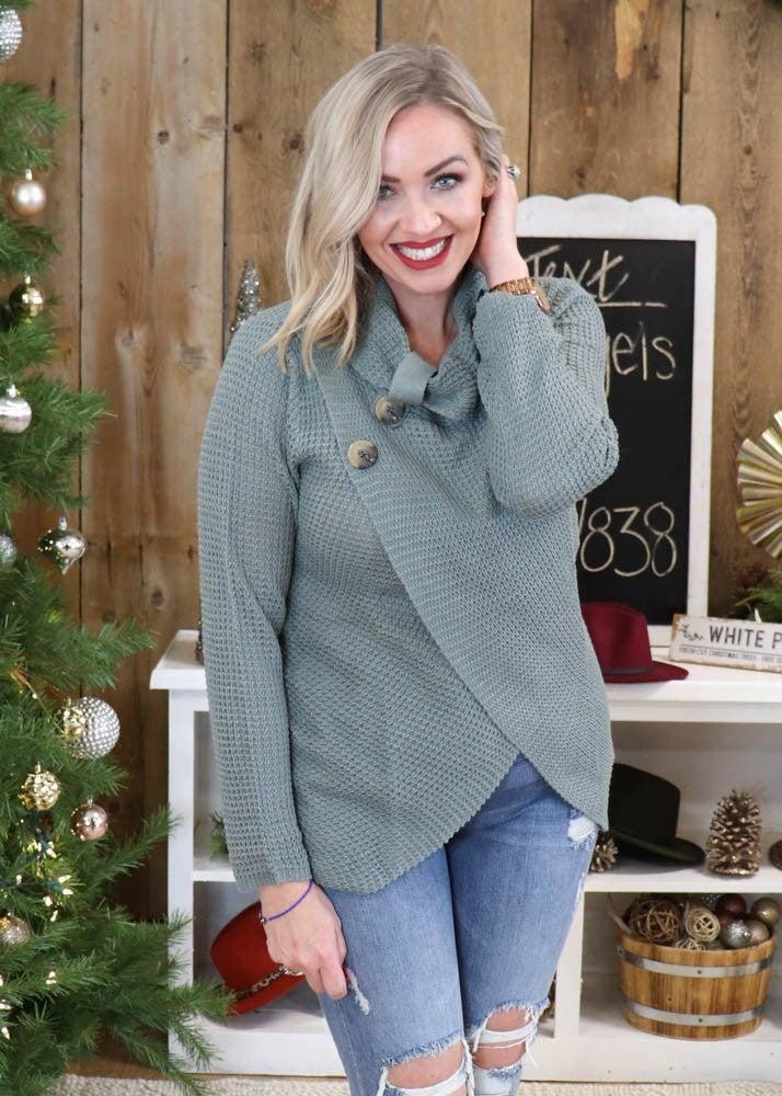 Alica Cowl Neck Sage Sweater