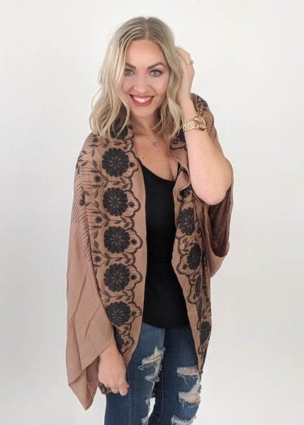 Mocha Detailed Kimono