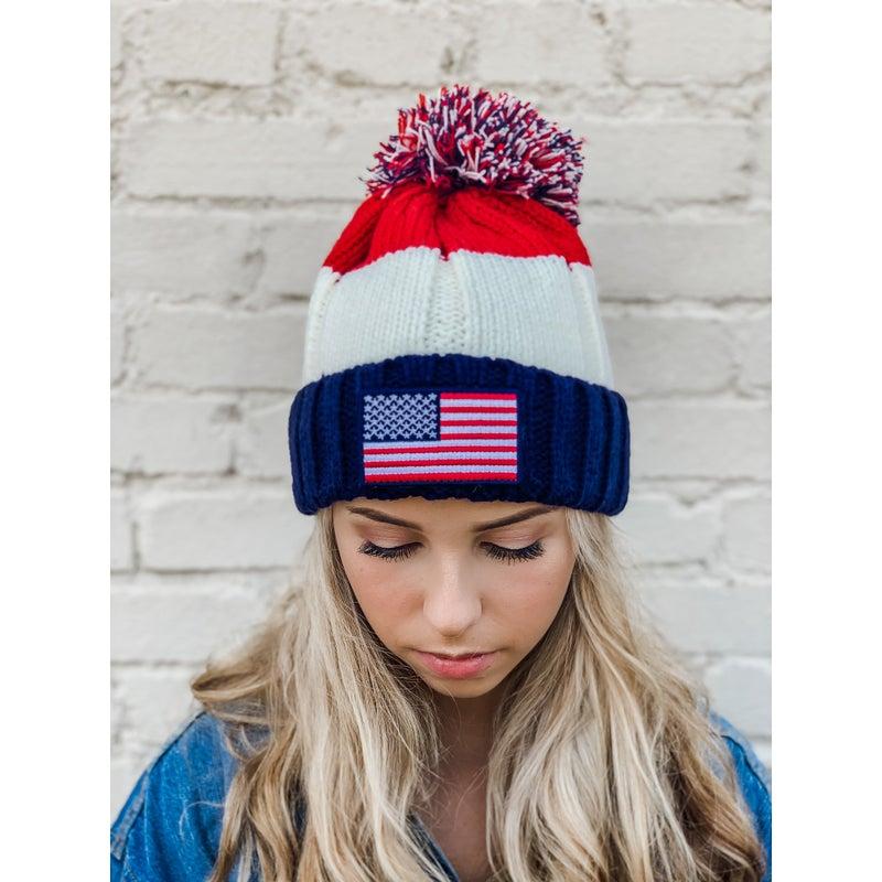 CC USA Flag Pom Hat *Final Sale*