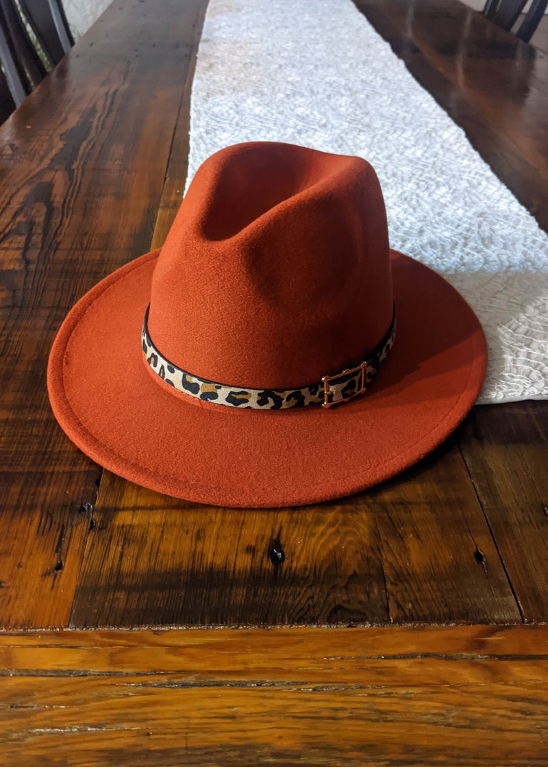Rust Flat Brim Hat With Buckle *Final Sale*