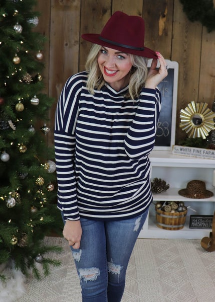 Nautical Navy and White Striped Shirt