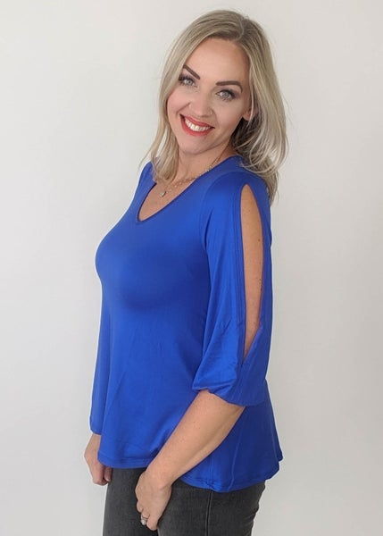 Believe in Yourself Slit Sleeve Top - Cobalt