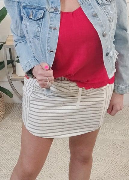 Sophia Grey Striped Skirt