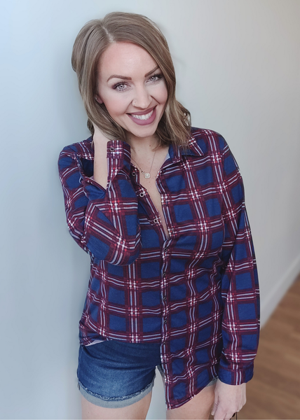 Whitley Plaid Button up: Navy Red *Final Sale*