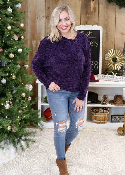 DOORBUSTER - London Purple Chenille Sweater *Final Sale*