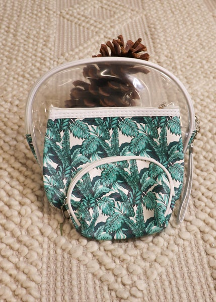 Palm Leaf Cosmetic Pouches, 3ct *Final Sale*