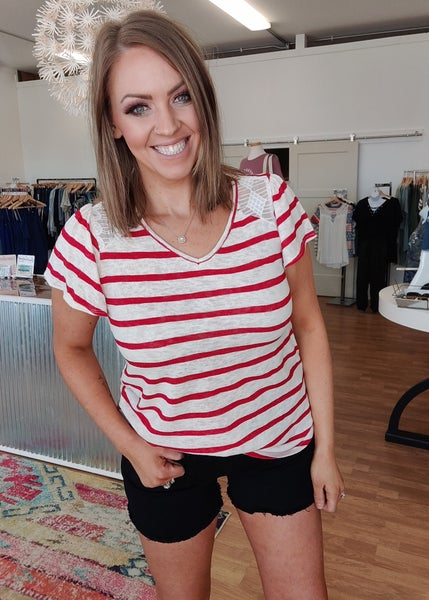 Red & Ivory Lace Tee