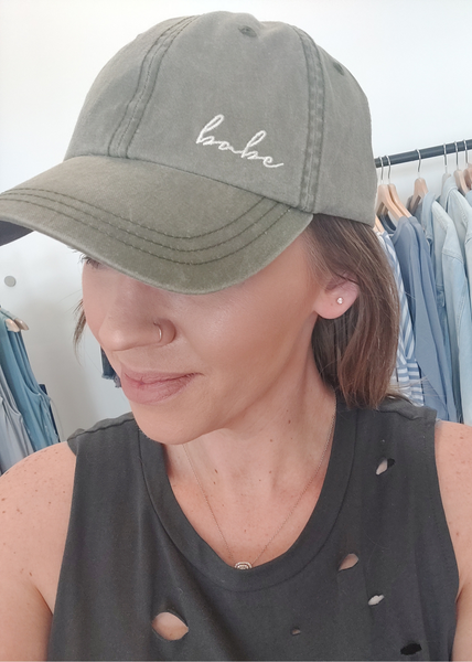 Babe Embroidered Cap-Olive
