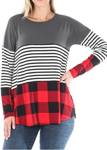 DOORBUSTER- Buffalo Plaid Colorblock Top *Final Sale*