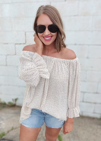 Scout Cream Spotted Off Shoulder Top
