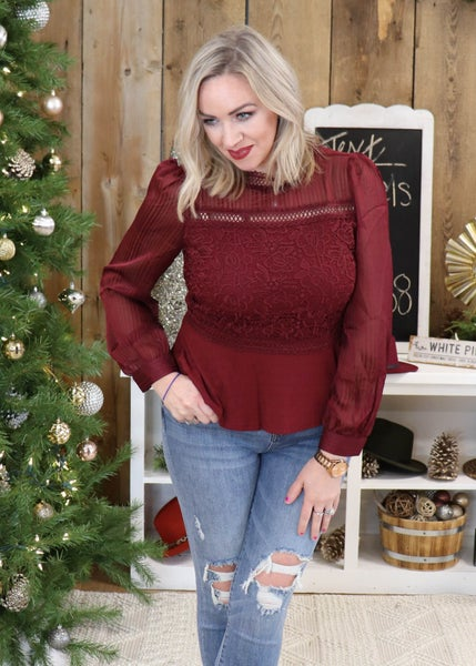 DOORBUSTER - Nellie Burgundy Lace Detail Top *Final Sale*