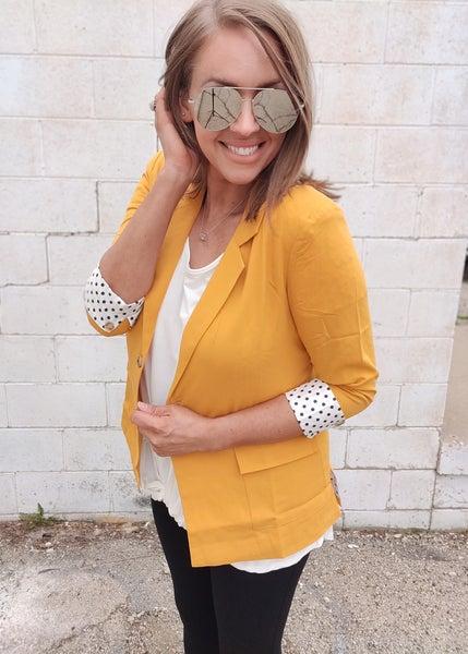 Polka Dot Blazer-Mustard