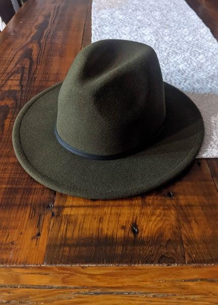 Olive Retro Flat Brim Hat *Final Sale*