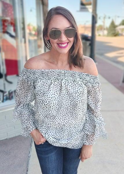 Jasmine Leopard Off Shoulder Ruffled Top