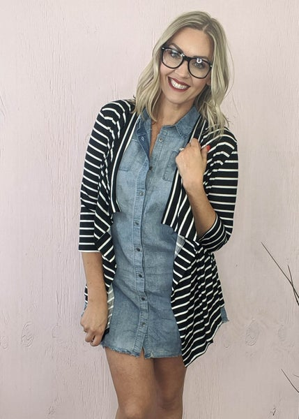 Denim Freyed Button Down Dress