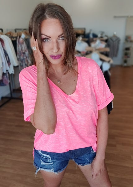 Reese Neon V-Neck Tee-Hot Pink