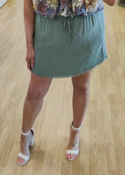 Lagoon Linen High Waist Skirt