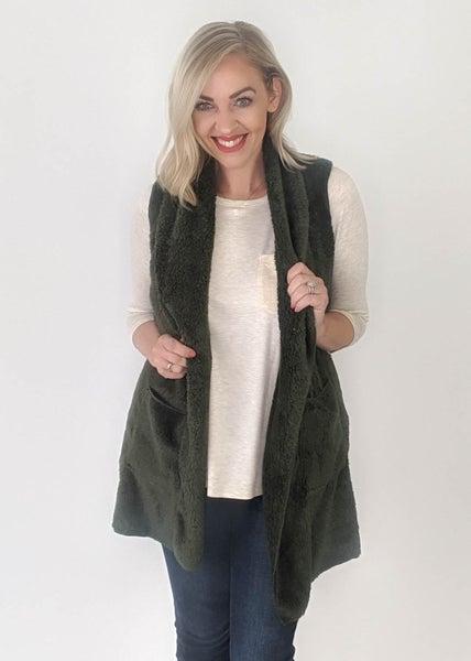 Posh Olive Fur Vest