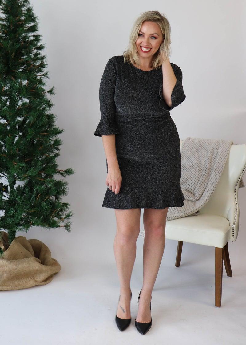 DOORBUSTER: Silver & Black Sparkly Dress *Final Sale*