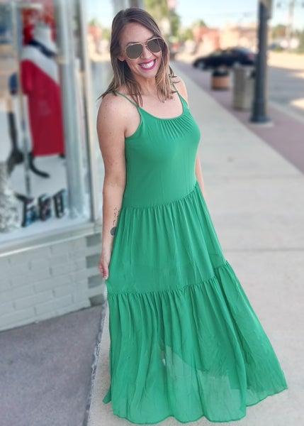 Amy Green Layered Maxi Dress