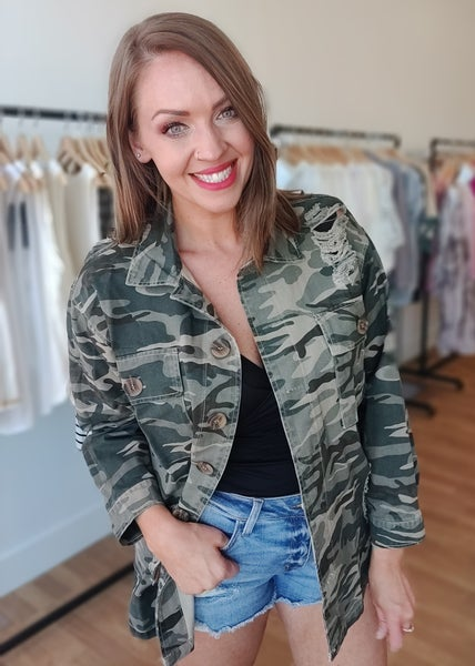 I Need A Soldier Distressed Camo Jacket