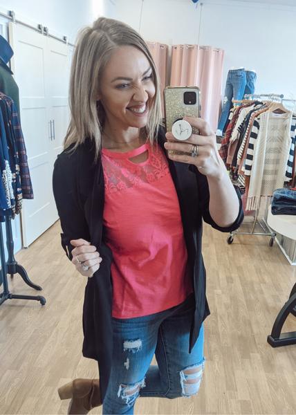 Lucy Crochet Hot Pink Top *Final Sale*