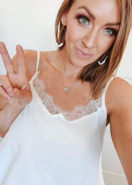 Brittany Lace Tank - Ivory