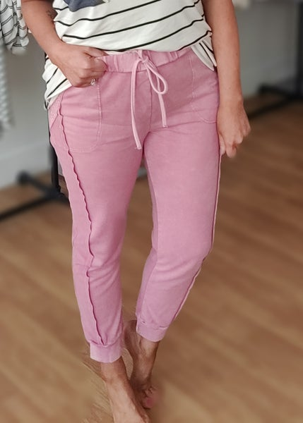 Mineral Washed Joggers-Mauve