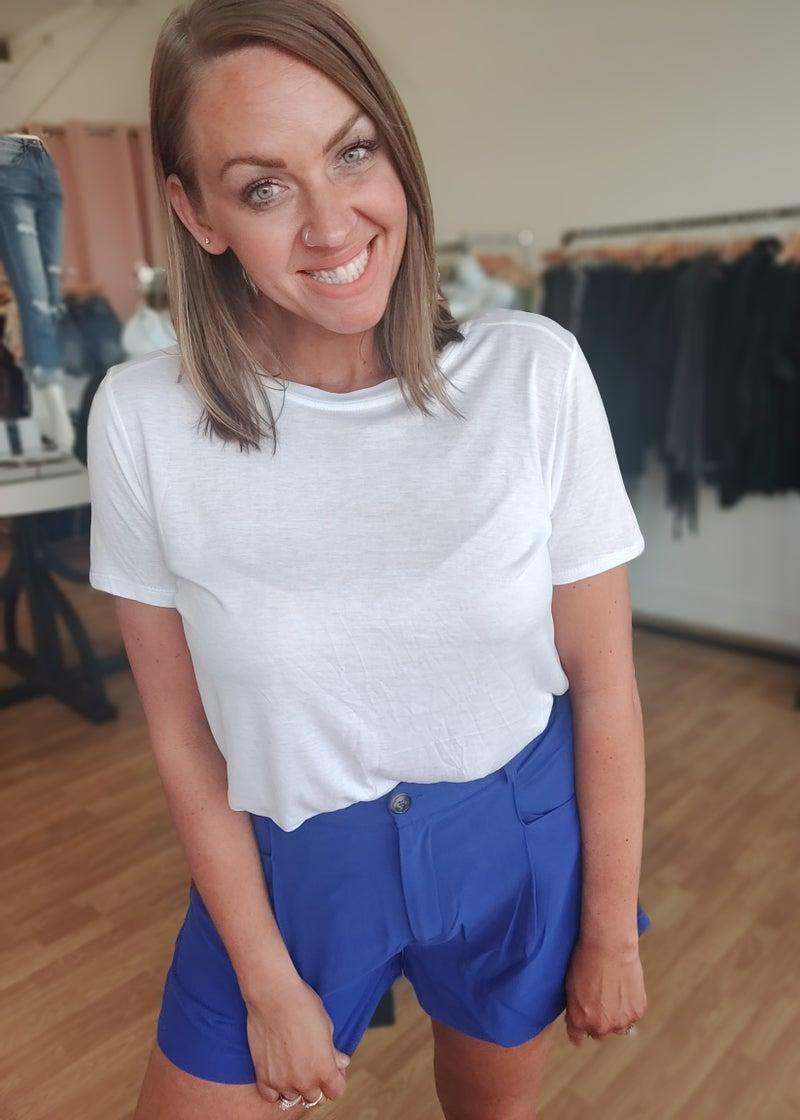 Cobalt Pleated High Waist Shorts