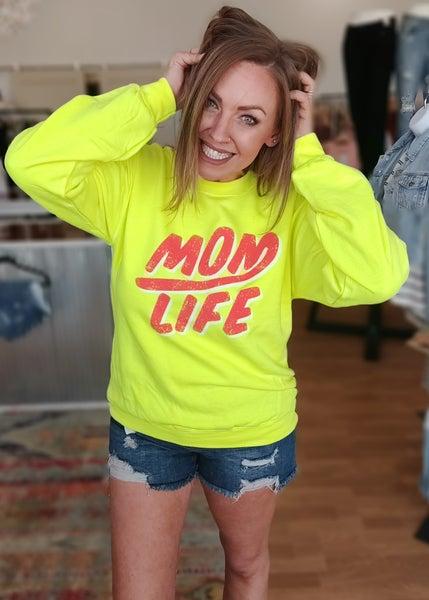 Neon Yellow Mom Life Graphic Sweatshirt