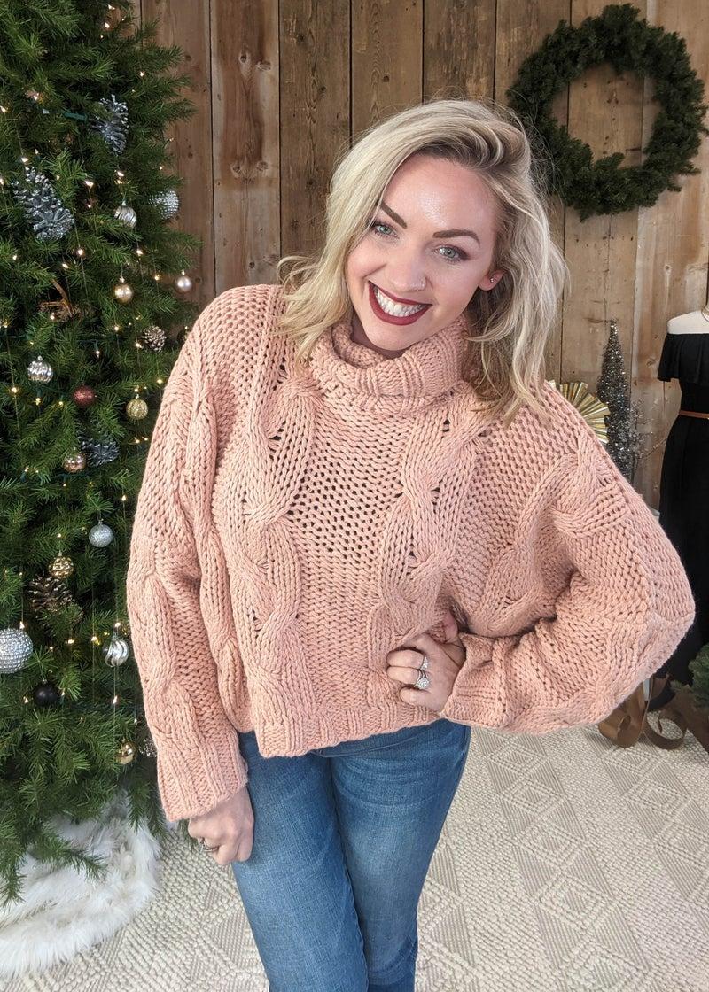 Dusty Rose Crop Cowl Neck Sweater