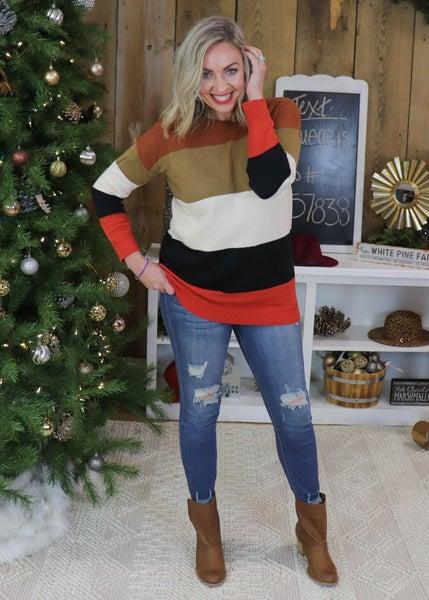 Rust Colorblock Sweater
