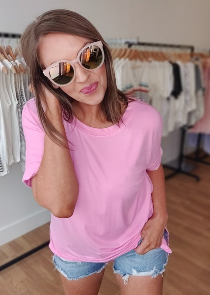 Taylor Cuffed Tee-Candy Pink