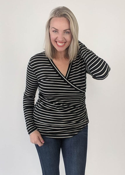 Sultry  Black Striped Top