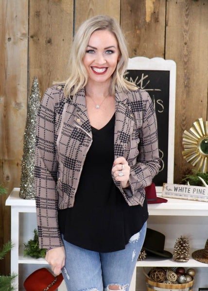 Elsie Mocha Plaid Moto Jacket