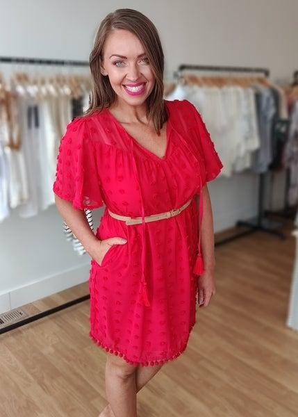 Red Swiss Dot Detail Dress