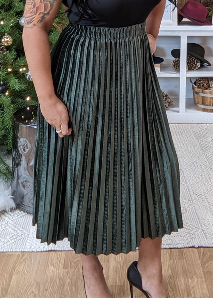 DOORBUSTER-Olive Velvet Pleaded Skirt *Final Sale*