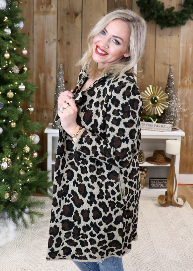 Mollie Animal Print Collar Sweater Cardigan