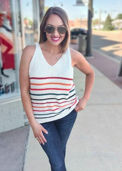 Jude Multi Color Striped Knit Tank