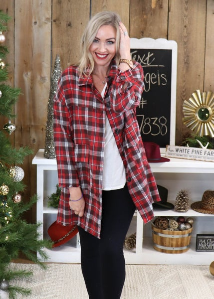 Plaid Long Sleeved Button down: Red