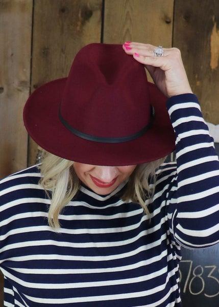 Wine Retro Flat Brim Hat *Final Sale*