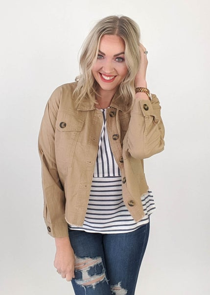 Cropped Fall Jacket in Khaki