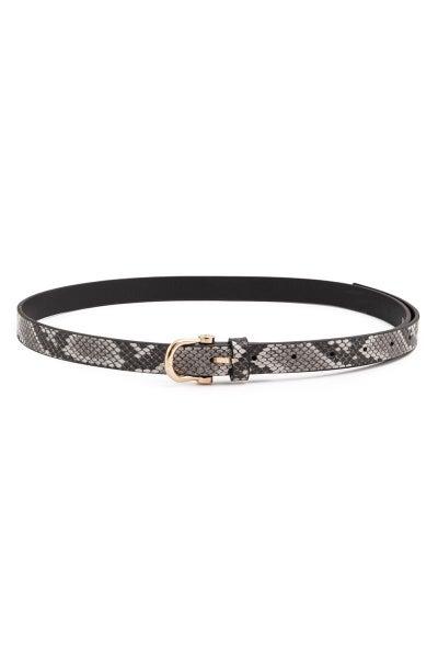 Textured Fashion Belt-Black Snakeskin