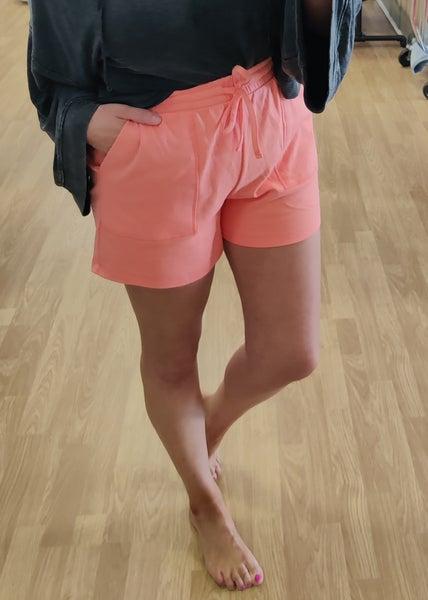 Dixie Drawstring Shorts-Coral
