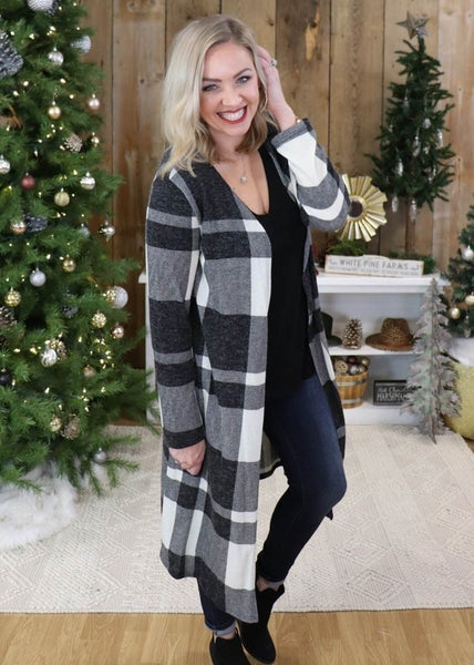 Noah Ivory Plaid Duster