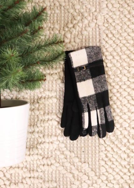 DOOR BUSTER: Smart Touch Gloves: Black & White Plaid *Final Sale*