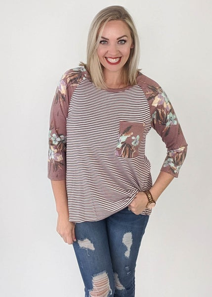 Fall Floral Striped Long Sleeve