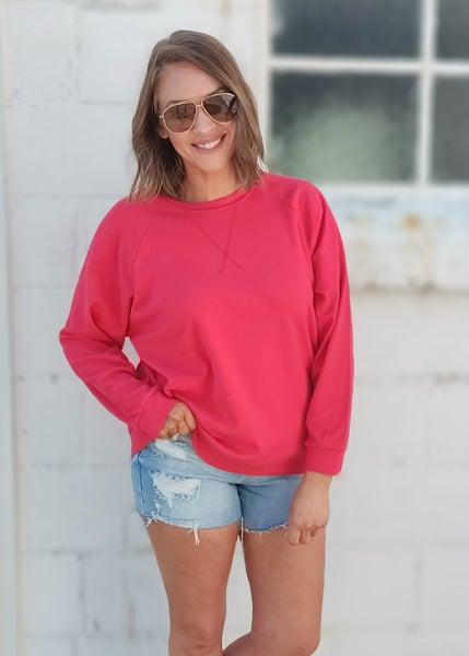 Carissa Crew Sweatshirt - Ruby