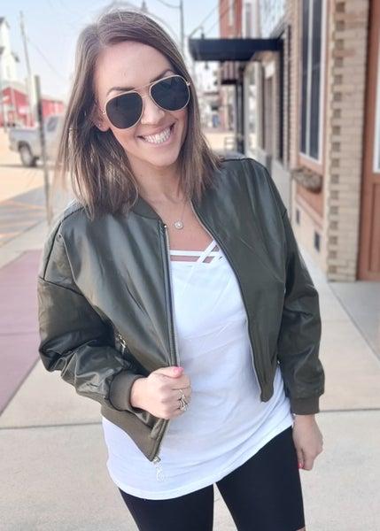 Olive Faux Leather Bomber Jacket