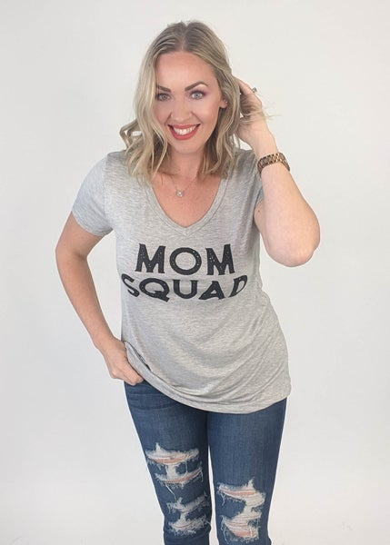 DOORBUSTER: Mom Squad Unite Tee- Heathered Grey *Final Sale*